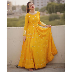 Bollywood Style Yellow Color Long Gown For Girl