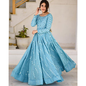 Bollywood Style  Sky Blue Color Long Gown For Girl