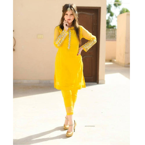 Bollywood Style Yellow Top With Salwar Suit