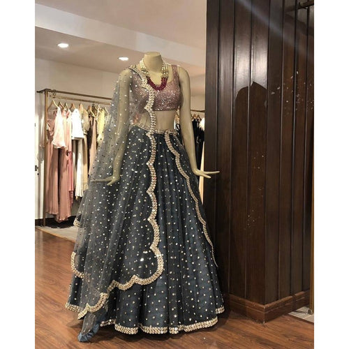 Grey Soft Net Sequance Lehenga Choli For Girls