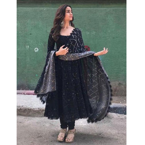 Alia Bhatt Black Embroidered Bollywood Designer Anarkali Suit