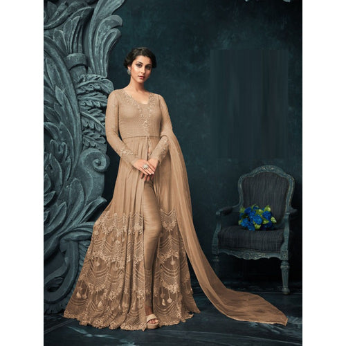 Stylish Party Wear Cream Color Party Wear Embroidery Salwar Suit