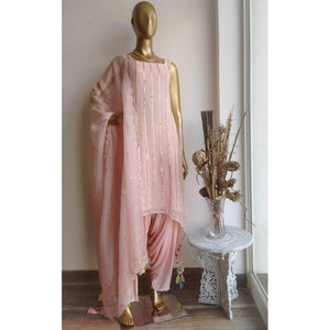 Blush Pink Handwork Kurta And Patiala Set