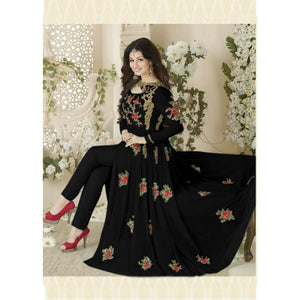 Trendy Festival Wear Black Color Gown For Girls