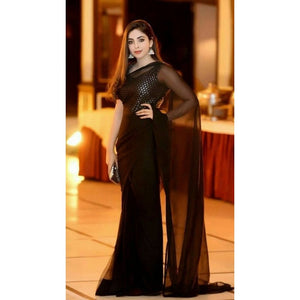 Trendy Party Wear Black Color Saree