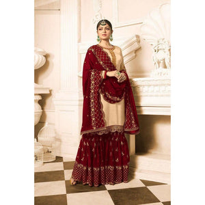 Trending Ceremonial Wear Maroon Color Sharara Suit
