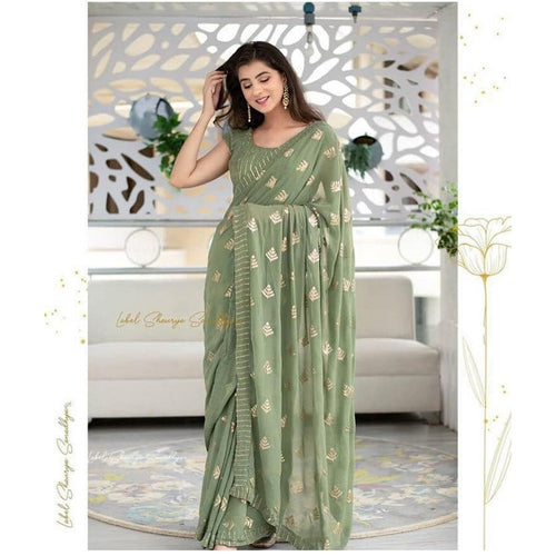 Designer Party Wear Pista Color Saree