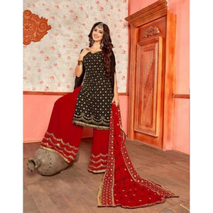 Bollywood Style Balck Color Embroidery Sarara Suit For Girls