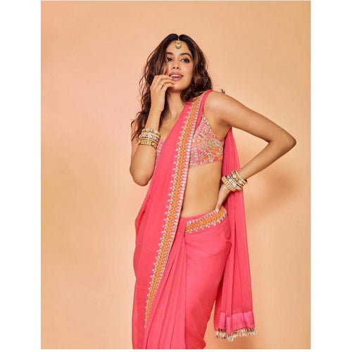 Trendy Party Wear Pink Color Saree With Blouse