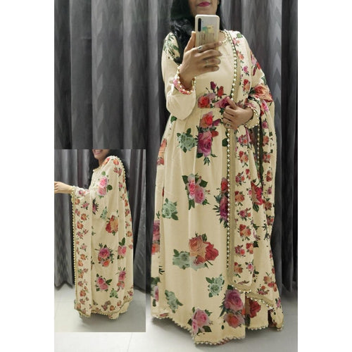Cream Color Fancy Digital Print Party Wear Sharara Suit