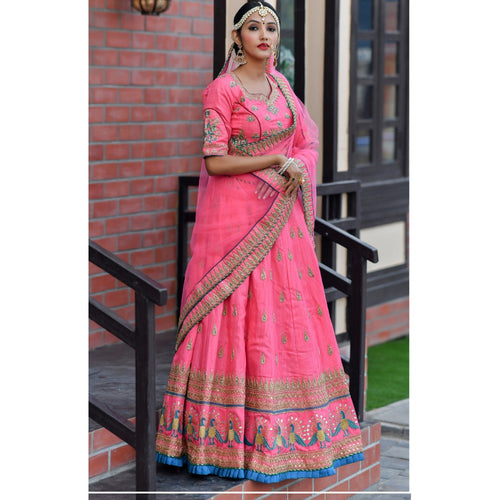 Stylish Bollywood Dark Pink Color Wedding Wear Lehenga Choli