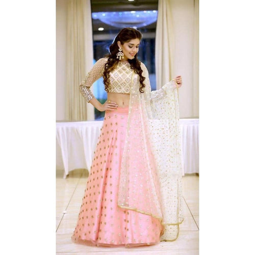 Latest Light Pink Color Lehenga With Golden Choli For Girls
