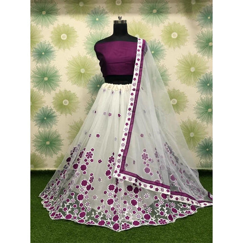 Fancy Bollywood Purple And White Color Lehenga Choli