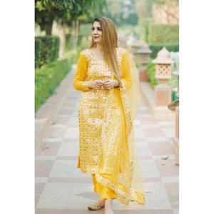Trending Festival Wear Yellow Color Palazzo Suit
