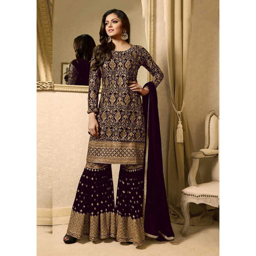 Trendy Festival Wear Purple Color Sharara Suit