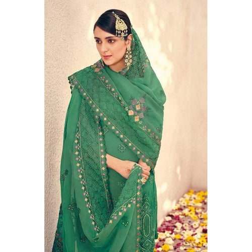 Fancy Green Color Sharara Suit For Girls