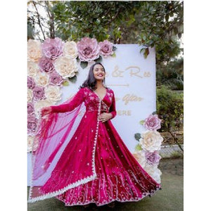 Stylish Sangeet Special Pink Color Gown For Girls