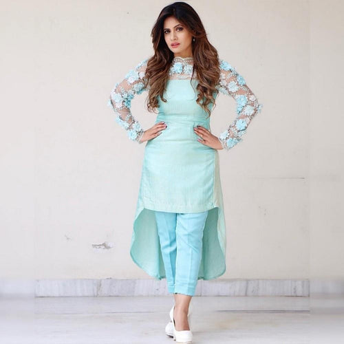 Party Wear Sky Blue Color Embroidery Work Suit For Girls