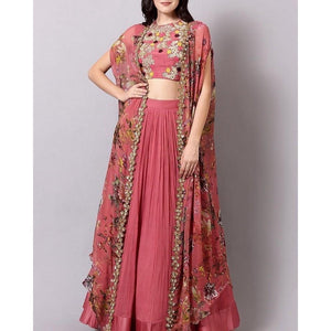 Fancy Pink Lehenga Choli Digital Print With Thread Embroidery Work For Girls