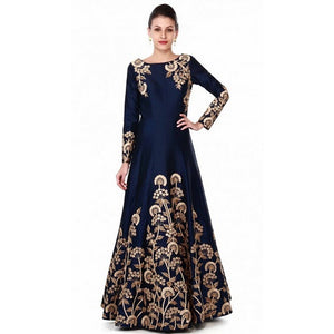 Trendy Ceremonial Wear Blue Color Gown