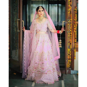 Stylish Party Wear Lite Pink Color Lehenga Choli