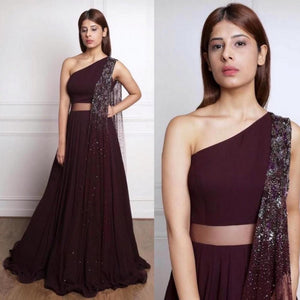 Wine Color Georgette With Net Dupatta Lehenga Choli For Girls