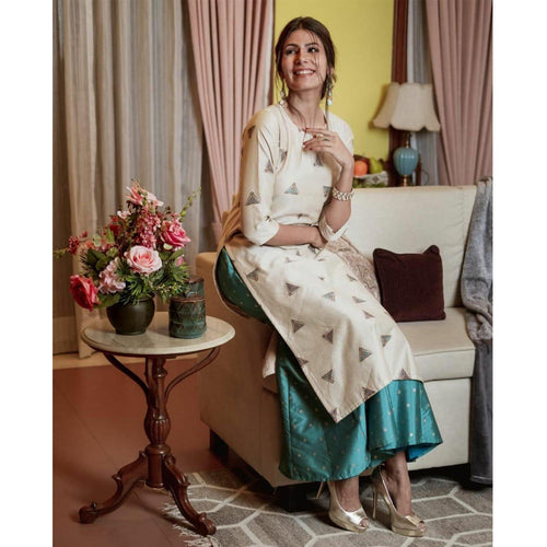 Chanderi Silk Top With Beautiful Jecquard Silk Pant