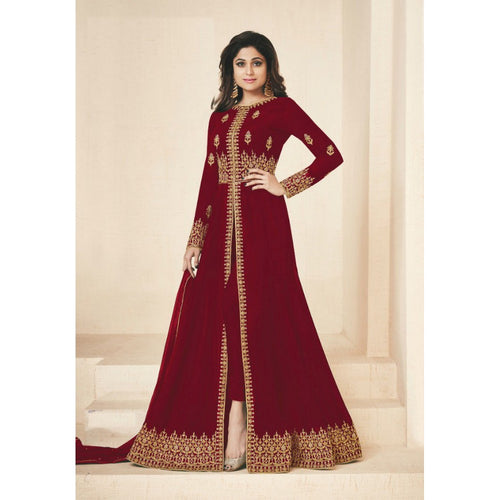 Heavy Work With Georgette Red Color Party Wear Sharara Suit