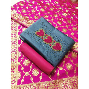 Heavy Jaam Cotton with Banarasi Jaquard Dress Material