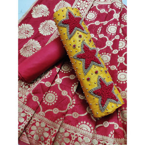 Heavy Pc Cotton With Hand Work,dupatta-banarasi Jacquard,women's Dress Material