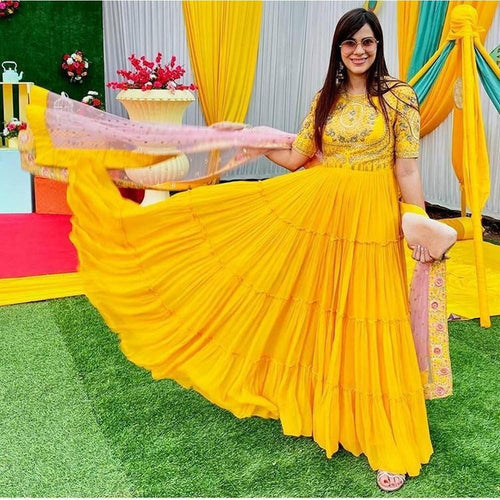 Festival Wear Yellow Color Gown For Woman