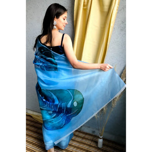 Sky Blue Color Floral Printed Orgenja Designer Saree With Blouse