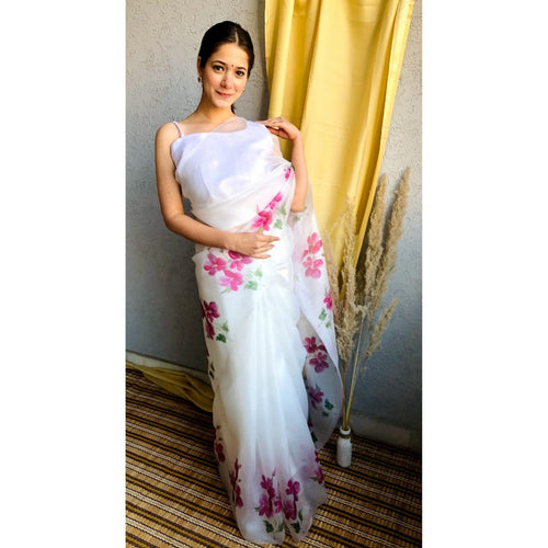 White Color Floral Printed Orgenja Designer Saree With Blouse