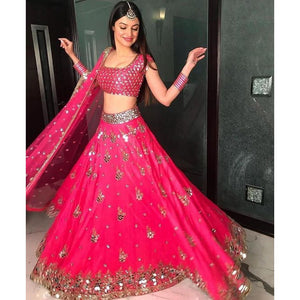 Classy Pink Colored Wedding Embroidered Silk Lehenga Choli