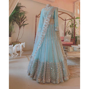 Gorgeous Sky Blue Colored Party Wear Mirror Work Lehenga Choli