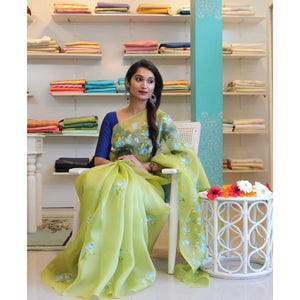 Pista Color Digital Print Stylish Organza Saree For Womans