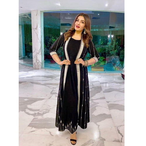 Raveena Tandon Havey Black Color Stylish Bollywood Gown