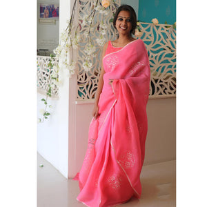 Pink Color Designer Saree With Blouse