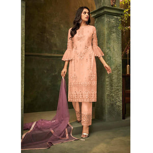 Peach Designer Sleeved Embroidered Pant Salwar Suit