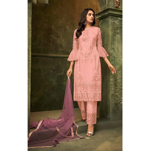 Pink Designer Sleeved Embroidered Pant Salwar Suit
