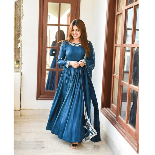 Blue Color Designer Anarkali Set With Duppta