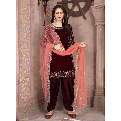 Velvet Designer Embroidery Patiala Suit In Brown Colour