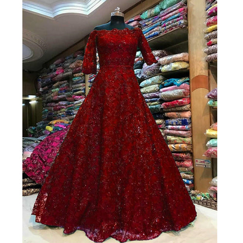 Red Color Designer Party Wear Look Gown