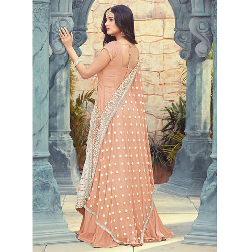 Sonal Chauhan Bollywood Peach Party Wear Anarkali Gown
