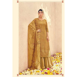 Stylish Georgette Golden Color Suit For Girls