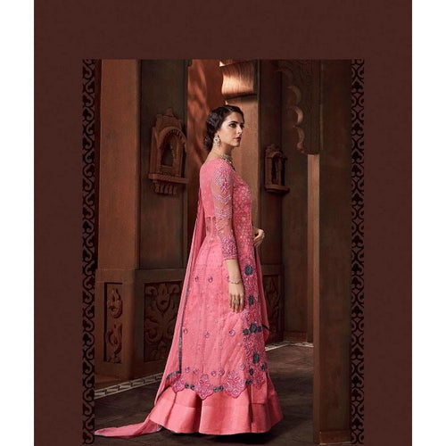 Stylish Pink Color Anarkali Suit For Girls