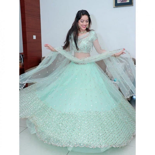 Bollywood Style Sea Green Color Lehenga Choli