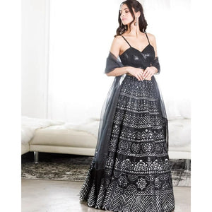 Fancy Festival Wear Black Color Lehenga Choli