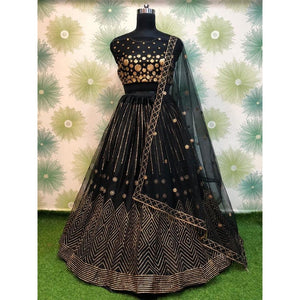 Trending Festive Wear Black Net Color Lehenga Choli