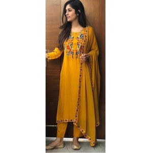 Designer Party Wear Musturd Yellow Color Palazzo Suit